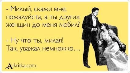 Милый, скажи мне, пожалуйста, а ты других женщин до меня любил?