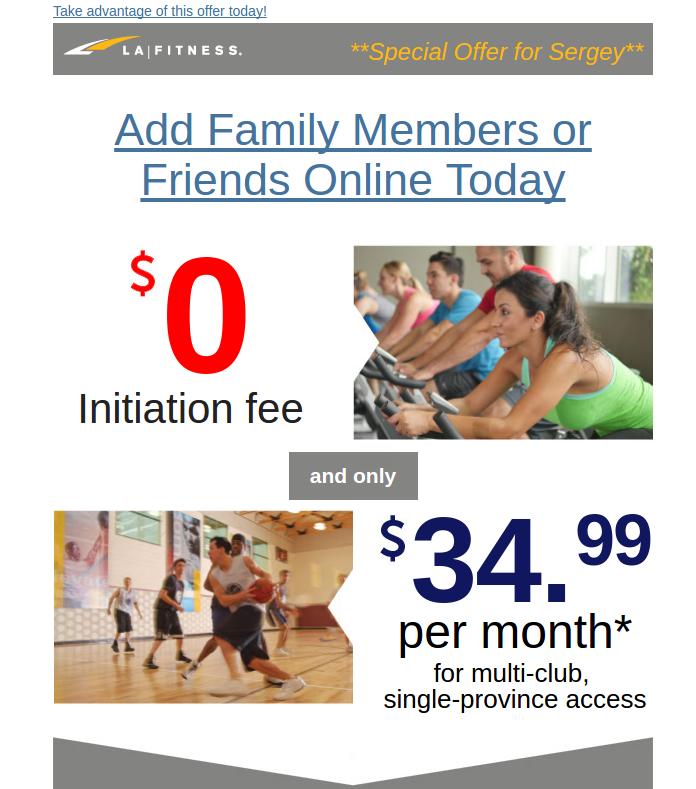 La Fitness offer